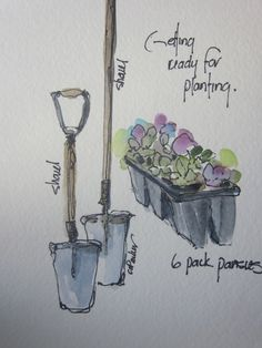 Getting Ready For Planting Watercolor Card