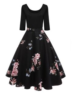Retro U Neck Floral Print Pin Up Dress - BLACK M