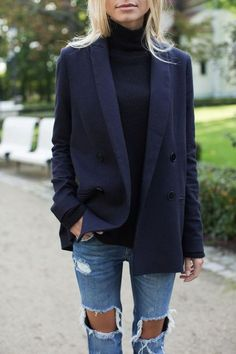 navy boyfriend blazer with turtleneck and ripped jeans