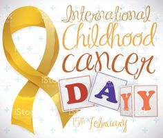 Golden Ribbon with Blocks and Reminder of Childhood Cancer Day