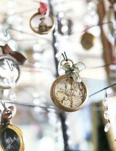 Cool ornaments made of old stopwatches and favorite photos