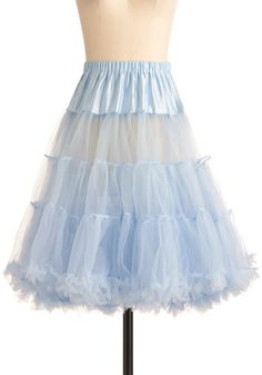Va Va Voluminous Petticoat in Blue - Blue, Solid, Ruffles, Rockabilly, Vintage Inspired, 50s, Mid-length, Wedding, Pastel, Best Seller