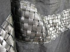 Woven leather and linen scarf  Lux wrap by scabbyrobot on Etsy, $689.00