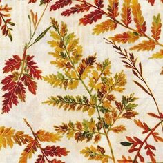 """Leaf Fabric: Fabri-Quilt Autumn in The Forest Fern Metallic Branches Cream - leaves specimen  100% cotton fabric by yard 36""""x43"""" (J53) by Angelfabric on Etsy https://www.etsy.com/listing/470291118/leaf-fabric-fabri-quilt-autumn-in-the"""