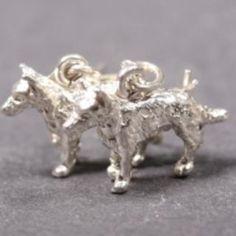 German Shepherd silver EARRINGS (hooks)