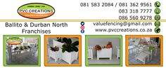 Contact Details for PVC Creations PVC Products Durban North to Ballito. Calcium Carbonate, Top Freezer Refrigerator, Fencing, South Africa, Patio, Outdoor Furniture, Group, Products, Fences