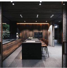 Forest House Forest House on Behance Best Kitchen Designs, Modern Kitchen Design, Interior Design Kitchen, Modern Kitchen Island, Design Loft, Küchen Design, Masculine Home Decor, Forest House, Cuisines Design
