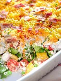 Ranch Salad Save Print Prep time 10 mins Total time 10 mins This Ranch 7 Layer Salad is loaded up with fresh veggies and a creamy ranch style dressing! It's a definite crowd pleaser! Author: Holly Nilsson Recipe type: Salad Cuisine: American In Easy Salad Recipes, Easy Salads, Healthy Recipes, Healthy Lunches, Dinner Recipes, Party Recipes, Summer Recipes, Drink Recipes, Italian Chopped Salad