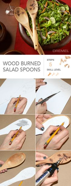 Need gift ideas? Create and personalize these wood burned salad spoons for that friend who loves to cook.