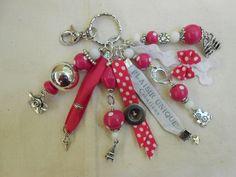 Porte Clés Ruban Pois Rose Perles et Breloques : Porte clés par plaisir-unique-nathalie-b