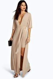 Slinky Plunge Kimono Sleeve Maxi Dress ($40)