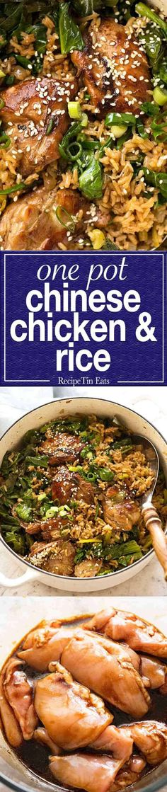 One Pot Chinese Chicken and Rice - recipes - Reis Chinese Chicken Rice Recipe, Chicken Rice Recipes, One Pot Meals, Main Meals, Recipetin Eats, Recipe Tin, Asian Cooking, Tasty Dishes, Fried Rice