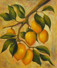 Citrus - Oil on Canvas Art. A soft color palette shows well in this oil painting called, Citrus. Lemons are hanging ripe from the tree with a nice look in wall art decor in a stylish composition. Th...