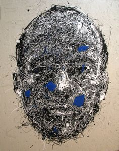 Craig Paul Nowak abstract drip portrait Black and White and Blue Drip Painting, Abstract Portrait, Jackson Pollock, Pictures To Paint, Lion Sculpture, Paintings, Statue, Black And White, Artist