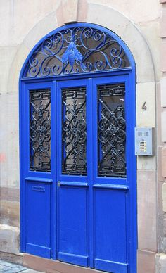 A beautiful blue door in Strasbourg, France