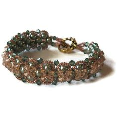 Beadwoven bracelet in peach and sage green by MiSuenos on Etsy, $45.00