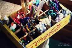 been readying our homeschool room this summer, found this idea on Pinterest!     Art Supplies