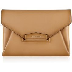 Givenchy Antigona envelope clutch in camel vintage-effect leather ($1,645) ❤ liked on Polyvore featuring bags, handbags, clutches, purses, givenchy, clutch bag, vintage leather purse, handbags purses, leather clutches and leather envelope clutch