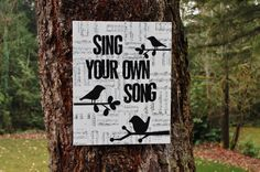 """16x20 """"Sing your own song"""" Vintage sheet music canvas by Houseof3 on Etsy.  Lyrics from musical """"Dear Edwina"""""""