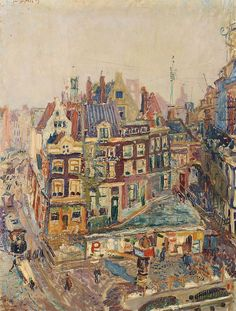 "huariqueje: "" The Old Beurspoortje and Surrounding houses at Rokin, Amsterdam - Jan Sluijters 1909 Dutch , 1881 - 1957 Oil on canvas, 65 x 50 cm "" Illustrations, Illustration Art, George Grosz, Francis Picabia, Cityscape Art, Dutch Painters, Post Impressionism, Dutch Artists, Collaborative Art"