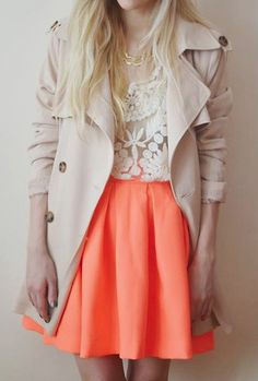 Wish the skirt was a little longer #lace #neon #fashion #style #skirt #trench #summer #trends #poshmark