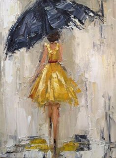 68 New ideas girl dancing in the rain art Rain Painting, Dress Painting, Rain Art, Umbrella Art, Black Umbrella, Dancing In The Rain, Girl Dancing, Painting Techniques, Lovers Art