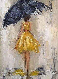 68 New ideas girl dancing in the rain art Rain Painting, Dress Painting, Umbrella Art, Black Umbrella, Rain Art, Dancing In The Rain, Girl Dancing, Painting Techniques, Lovers Art