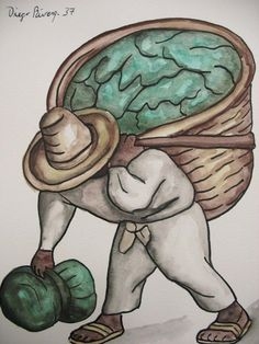 182: DIEGO RIVERA - Watercolor and ink drawing on paper :