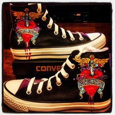 Bon Jovi Converse high tops with the Bon Jovi Logo on them, T.