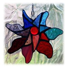 stained glass garden stakes patterns | Pinwheel Suncatcher Stained Glass Jewel Colours £13.00