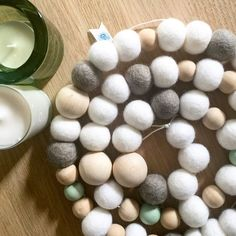 Excited to share the latest addition to my #etsy shop: Wooden Bead Garland, Farmhouse Decor, Scandinavian Christmas, Rustic Christmas Decor, Felt Ball Garland, Nordic Nursery, Beaded Garland