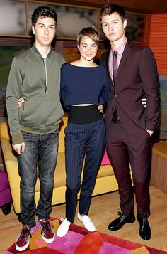 No fault in these co-stars: Nat Wolff, Shailene Woodley and Ansel Elgort pose together on the set of Despierta America as they promote their new movie in Miami on May Hunger Games, Fault In The Stars, Hazel Grace Lancaster, Shailene Woodly, Nat Wolff, Augustus Waters, Tom Payne, Bae, Ansel Elgort