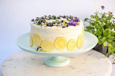Lemon blueberry buttermilk cake + lemon cream cheese frosting | Sugar Geek Show Lemon Cream Cheese Frosting, Cake With Cream Cheese, Cake Recipes, Dessert Recipes, Desserts, Sweet Recipes, Cake Pan Sizes, Tall Cakes, Cake Blog