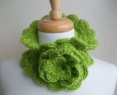 Neck Warmer Flower Trimmed Chartreuse Scalloped by needleworx, $30.00 Warm Fuzzies, Neck Warmer, Single Crochet, Knitting, Trending Outfits, Nice, Unique Jewelry, Handmade Gifts, Flowers