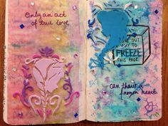 My own Personal Freeze this Page. I decided to go with Disney's Frozrn as a theme because the movie really touched my heart. I used water color, foam pieces and gems. wreck this Journal, wtj.