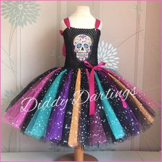 Day Of The Dead Tutu Dress. Day Of The Dead Costume. Inspired Handmade Dress. All Sizes. Fancy Dress. Halloween, Sugar Skull Costume by DiddyDarlings on Etsy