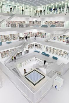 Architizer Blog » Top 10: Mind-Blowing Libraries; Stuttgart City Library (Inside)  Stuttgart, Germany  Designed by Yi Architects