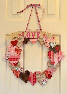 """Valentines Wreath."" With scrapbook paper and Midge podge"