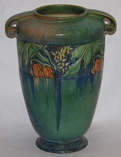 WOW-Roseville Pottery Baneda Green Vase.  The history of the potteries in the Ohio region are worth reading about....many were combined after fires or floods and most started with utilitarian ware.
