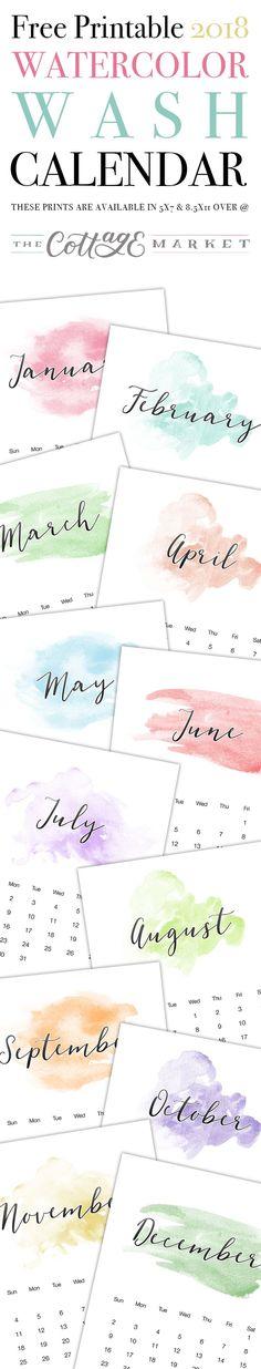 Free Printable 2018 Watercolor Wash Calendar