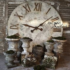 Antique Stone Planters and Pedestals by Ancient Surfaces Big Clocks, Stone Planters, Garden Urns, Metal Clock, Nordic Home, Antique Decor, Architectural Elements, Decor Interior Design, French Antiques