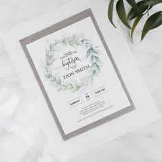 Greenery wreath baptism invitation printable Greenery Wreath, Christening Invitations, My Design, My Etsy Shop, Printable, Place Card Holders, Templates, Prints, Models