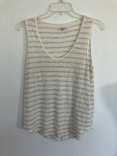 a7f2be95f3be7c MADEWELL Women s Cream Beige stripe pullover knit tank top size M viscose  1003