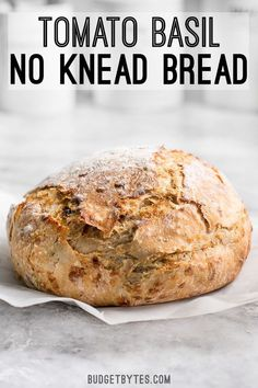 This Tomato Basil No Knead Bread is the perfect partner for your winter soups and stews, and is half the cost of a store bought artisan loaf. #noknead #bread #vegetarianrecipes #easyrecipe #easyrecipes