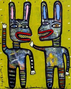 original HUGHART abstract outsider lowbrow punk pop art painting BUNNY GREETERS #OutsiderArt