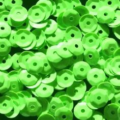 Clearance 6mm Glossy Bright Green Opaque Semi-cupped Sequins.