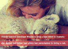 Nobody expected Dominique Weasley to bring a tiger kitten to Hogwarts - she stated her letter had given her permission to bring a cat. Submitted by: LadyNimea