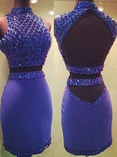 Beading Halter Sheath Short Prom Dresses,Homecoming Dress, Homecoming Dresses On Sale,XS24