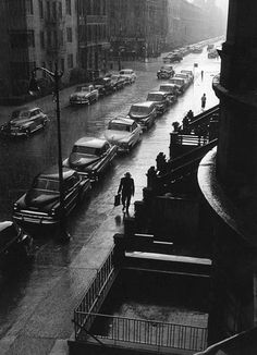 Man in the rain, photo by Ruth Orkin, New York, 1952