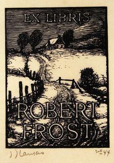 ≡ Bookplate Estate ≡ vintage ex libris labels︱artful book plates - Robert Frost Bookplate by J.J. Lankes, woodcut
